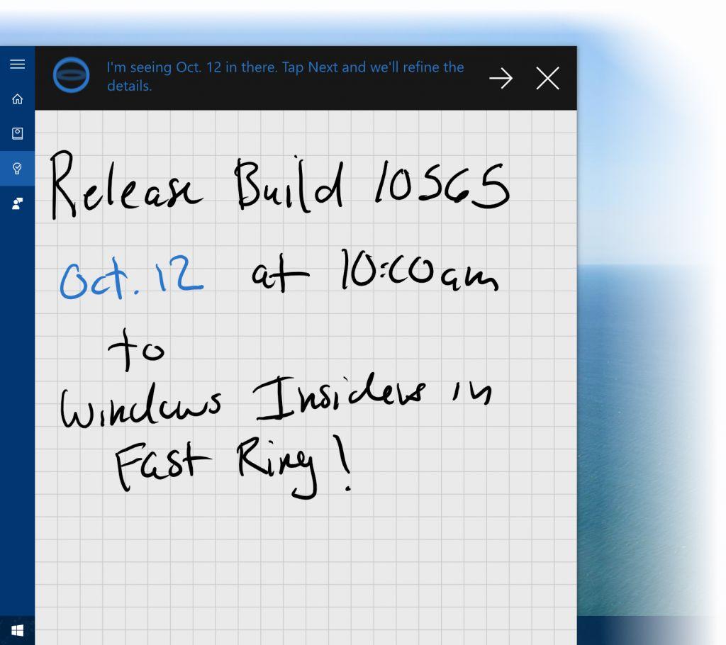 Cortana leyendo notas manuscritas
