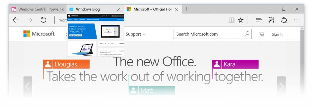 Vista previa de pestañas en Microsoft Edge