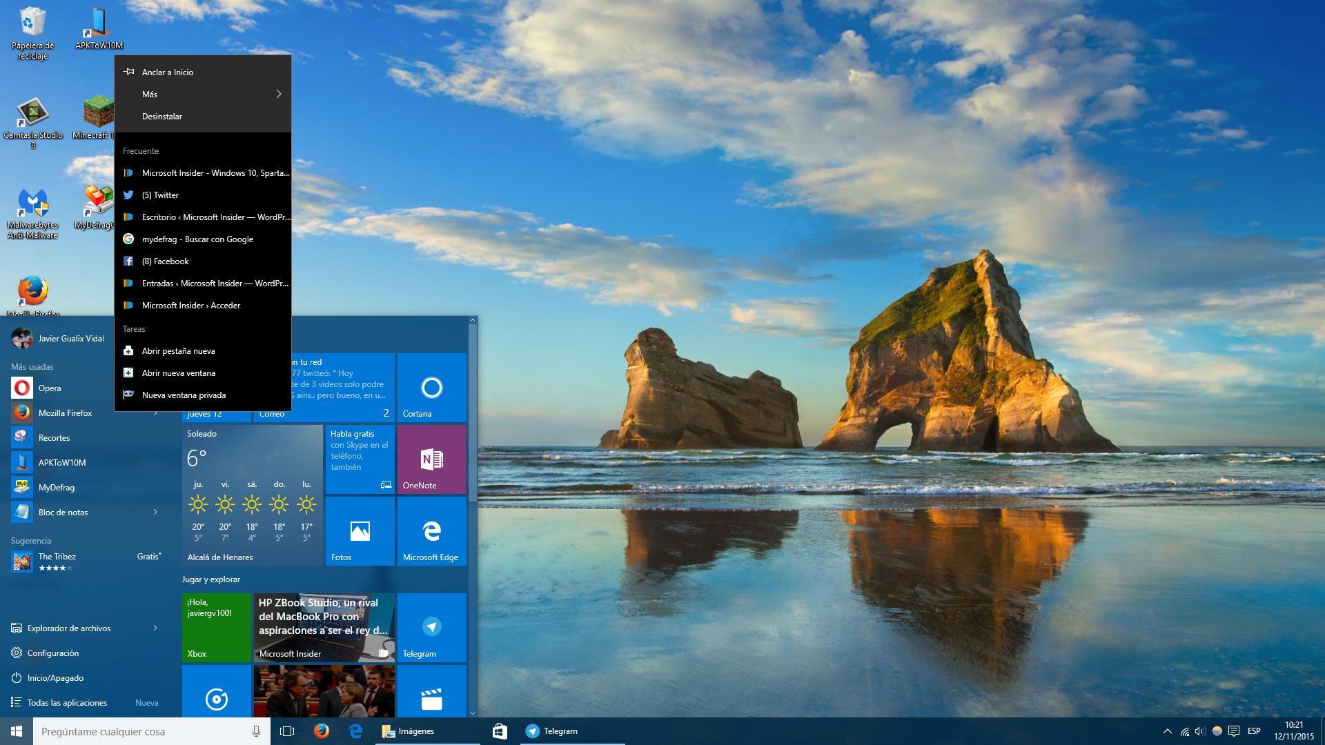 Jump List en Windows 10