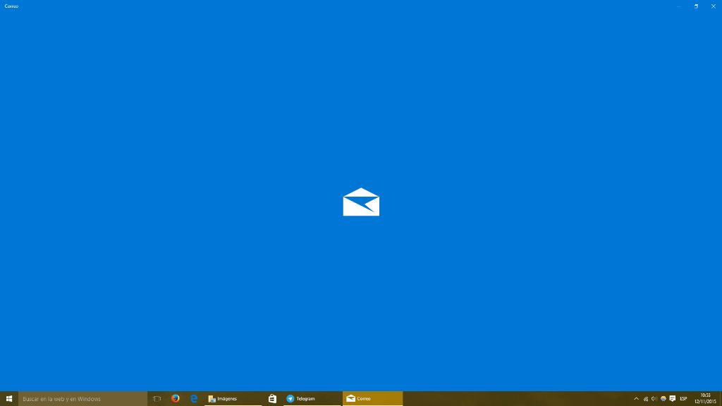 Splash screen azul de Correo