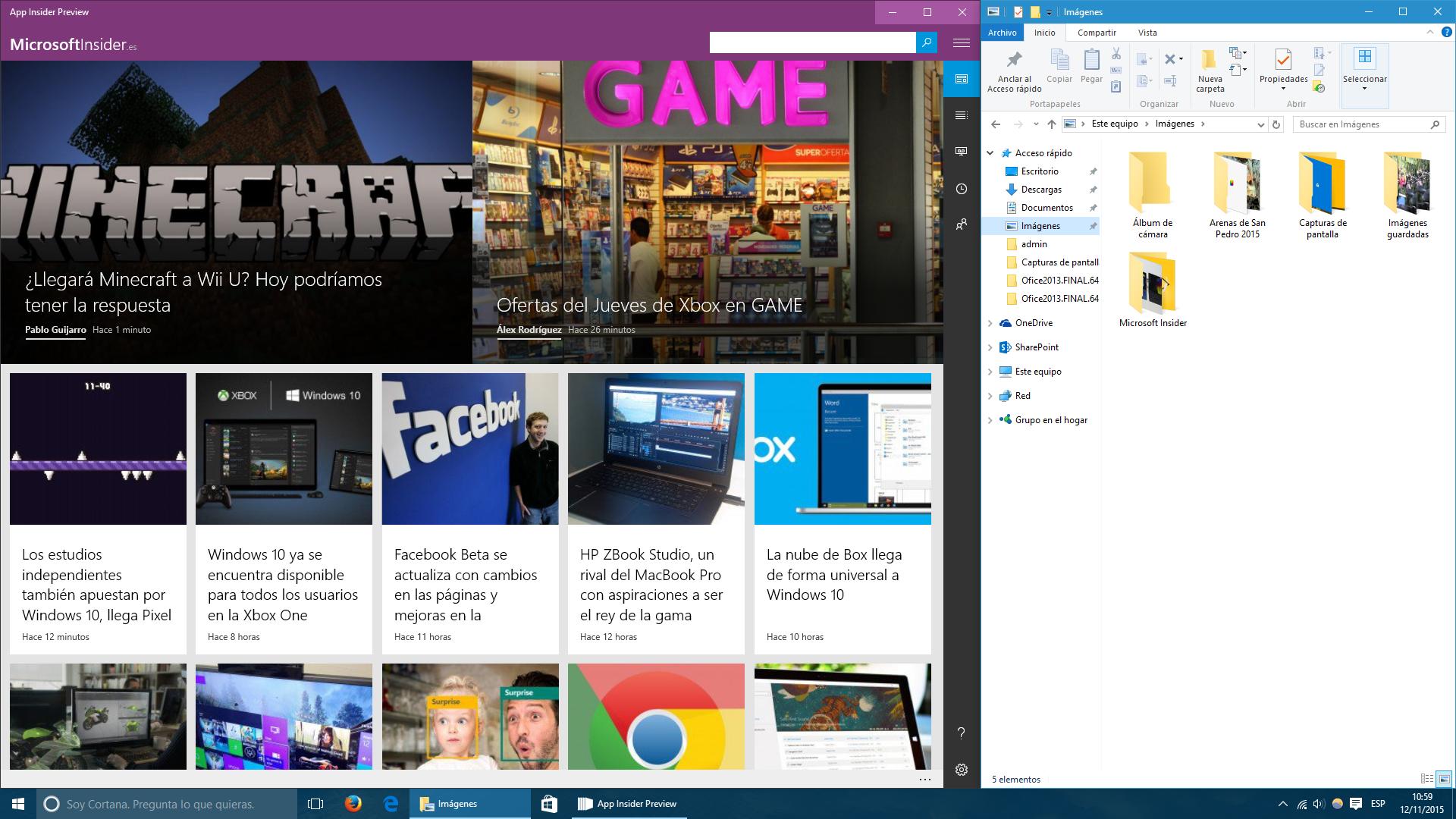 Microsoft Insider con explorador de archivos a la derecha