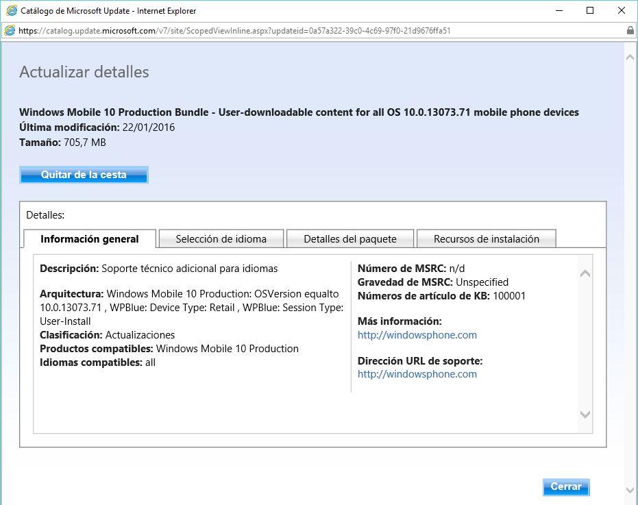 Idiomas Windows 10 Mobile