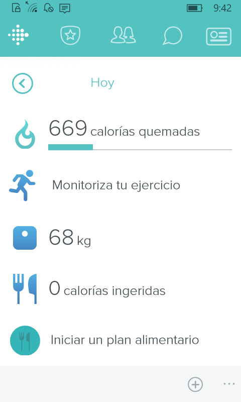 Aplicación de Fitbit en Windows 10 Mobile