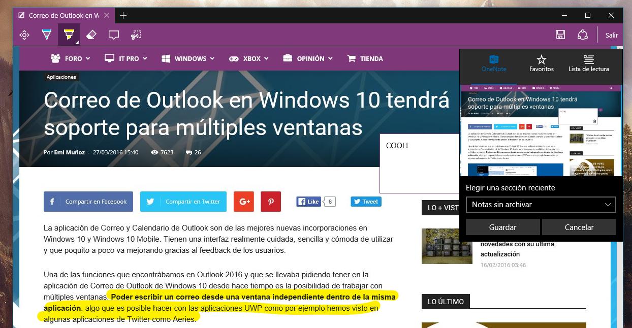 OneNote Microsoft™ Edge
