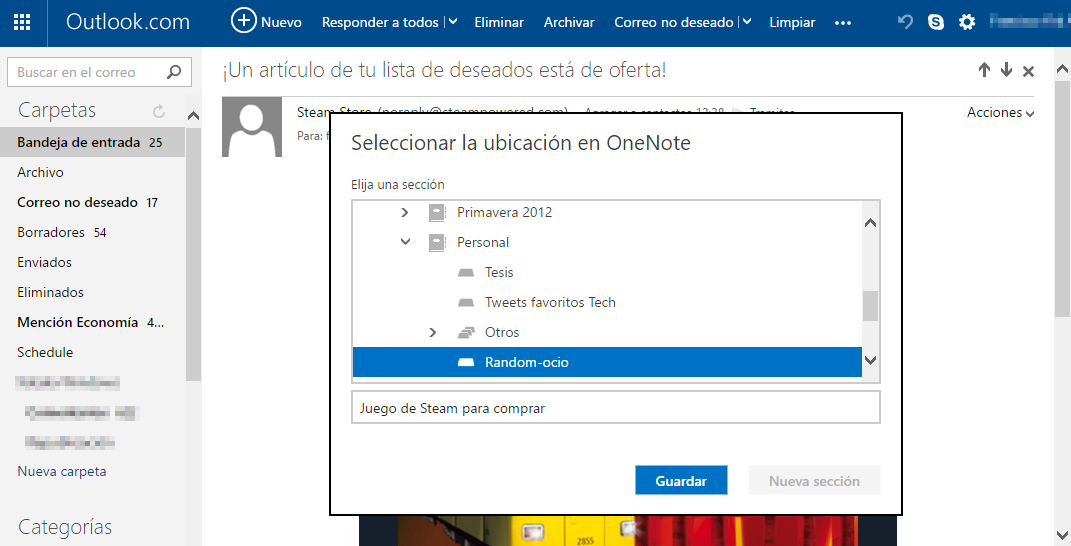OneNote en Outlook.com