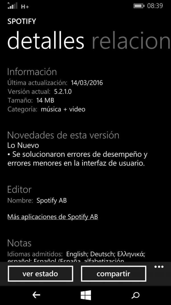 Spotify en Windows Phone 8.1