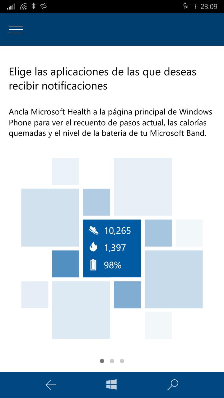 Microsoft Band 2 mejora en Windows Phone