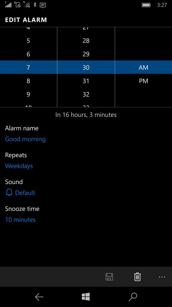 Selector de hora en la app de alarmas