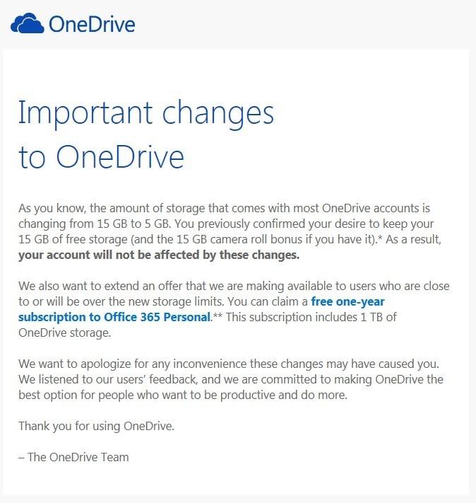 Microsoft ofrece Office 365 para los afectados por la limitación de datos de OneDrive