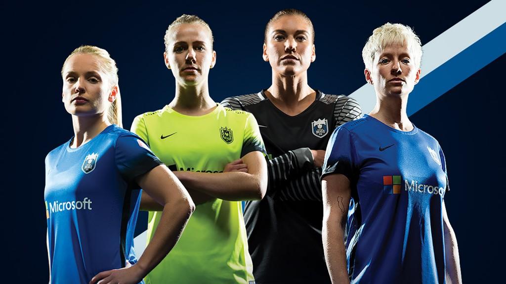 Camisetas de Microsoft en las jugadoras del Seattle Reign FC