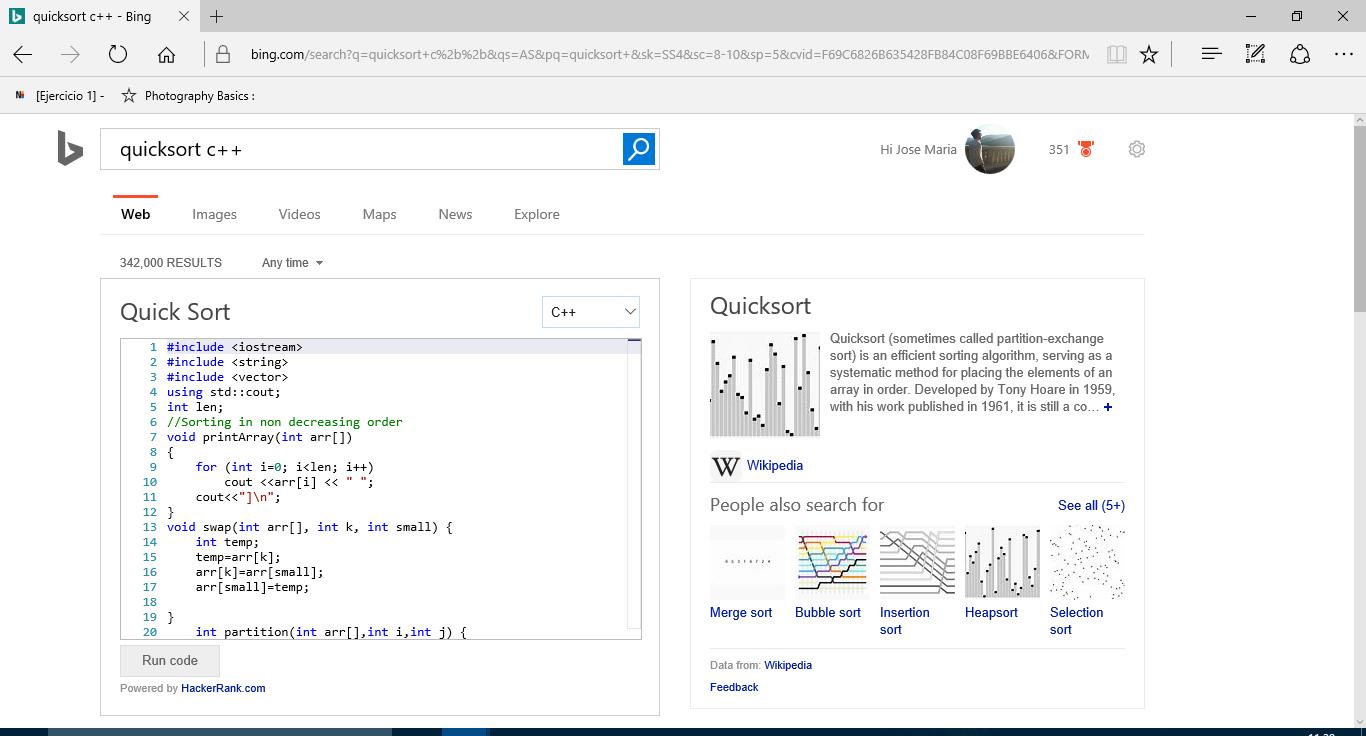 Bing nos acerca el código