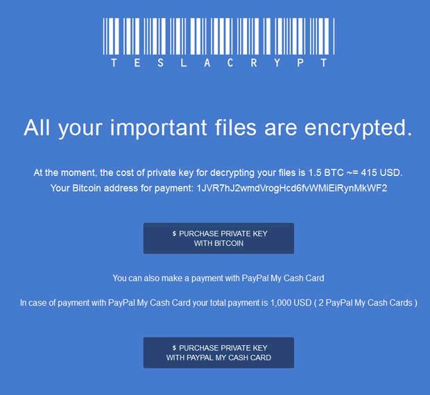 Así amenazaba TeslaCrypt