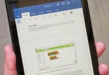 Documento de Word en smartphone con Android