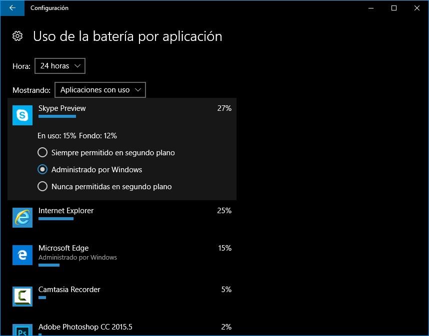Administrar gestión de batería en cada app