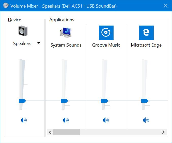 Las aplicaciones UWP ya aparecen en el mezclador de sonidos