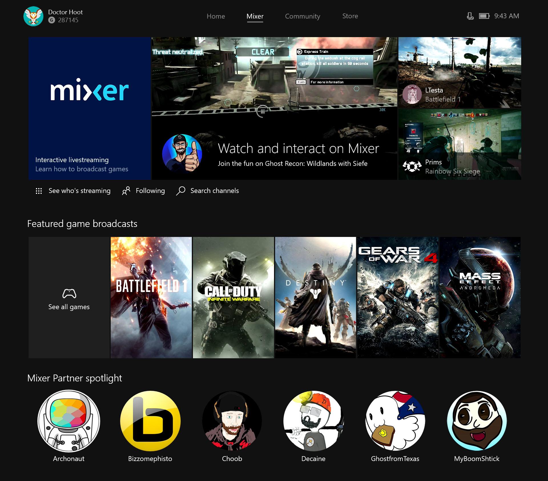 Mixer y Xbox
