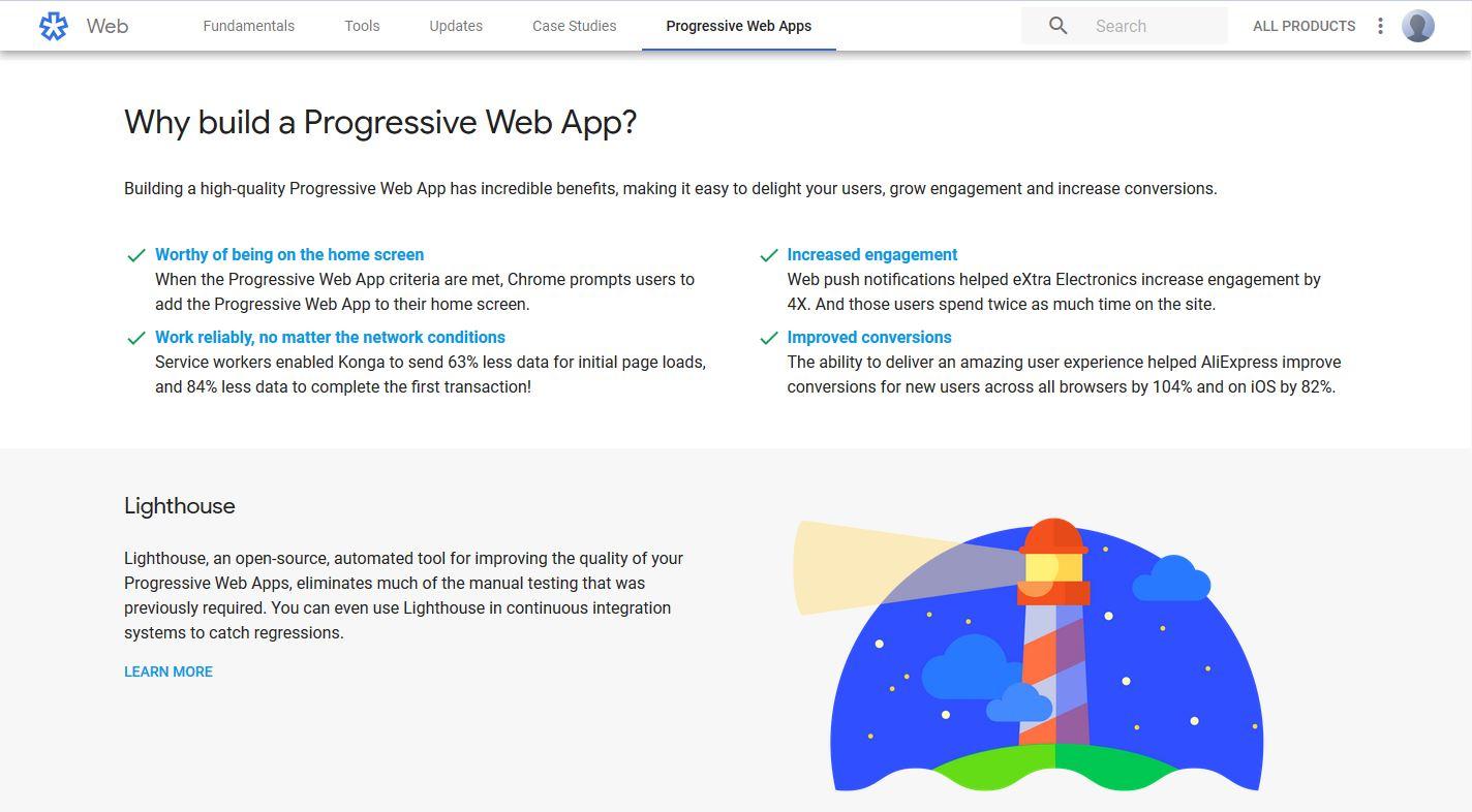 Google PWA Progressive Web App