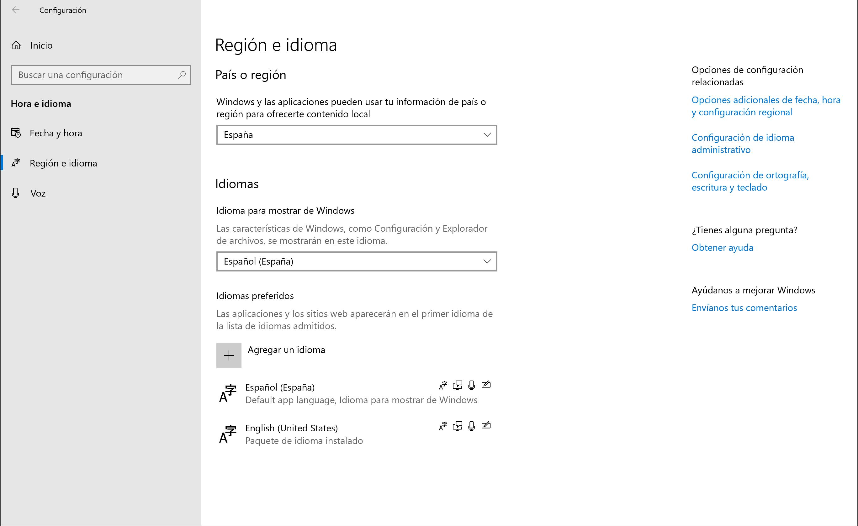 Página en la app Configuración